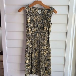 Anthropologie yellow and black dress size 0